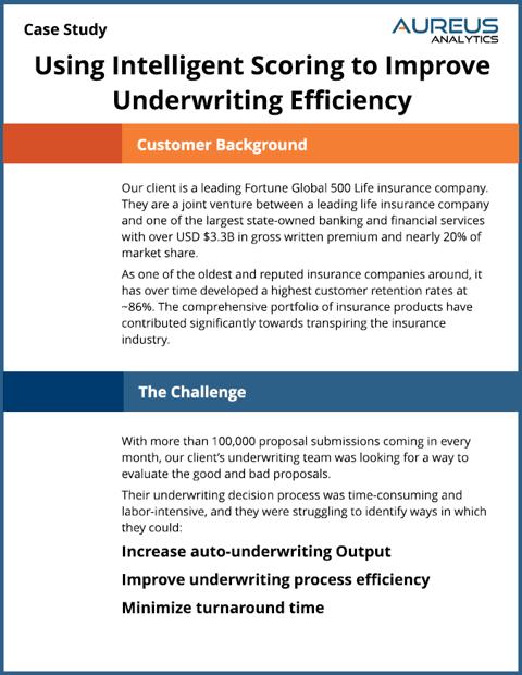 Using Intelligent Scoring to Improve Underwriting Efficiency Case Study